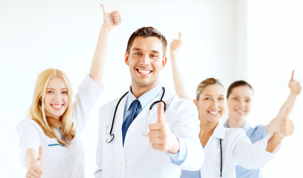 group of healthcare professionals smiling